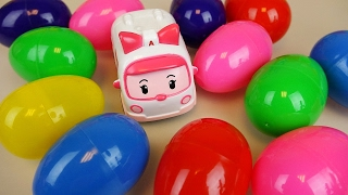 Surprise eggs and Robocar Poli Amber ambulance car toys