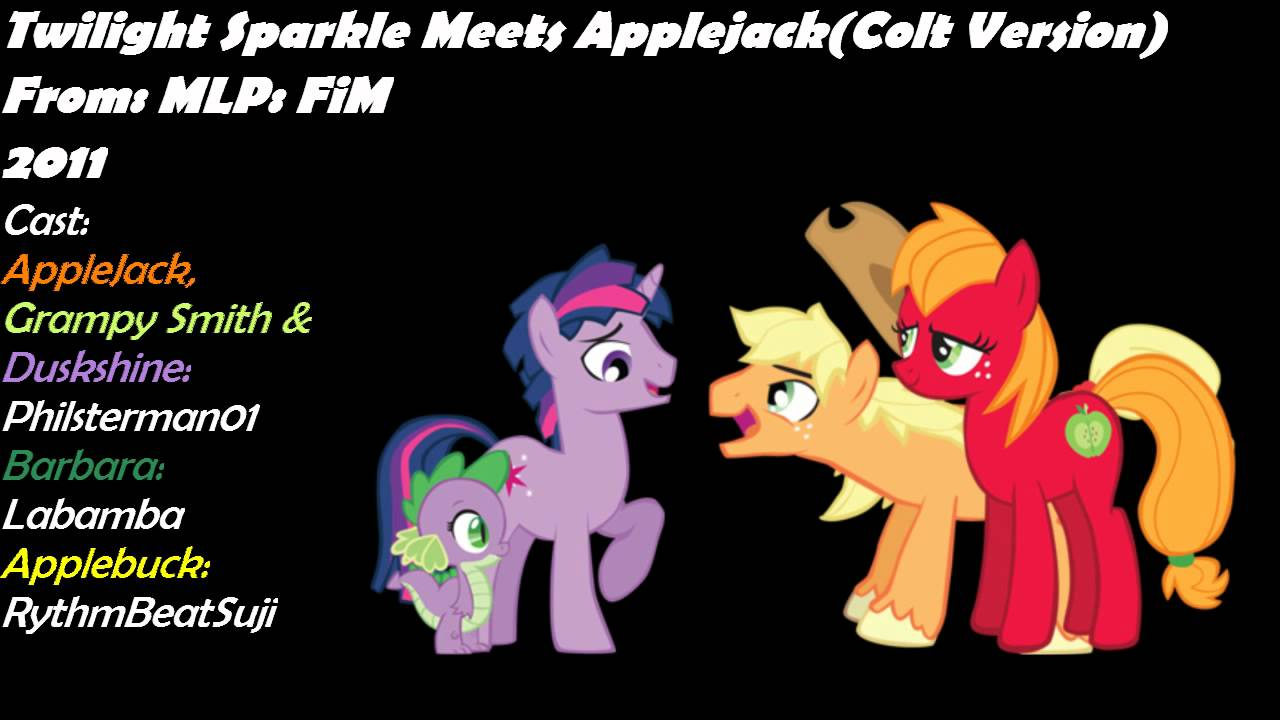 twilight sparkle meets applejack colt version youtube