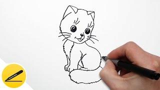 Как Нарисовать Кошку поэтапно для детей | как нарисовать легко и просто(Как нарисовать кошку. В этом видео я показываю как нарисовать кошку. Я рисую милого котёнка поэтапно, шаг..., 2016-08-18T05:45:57.000Z)