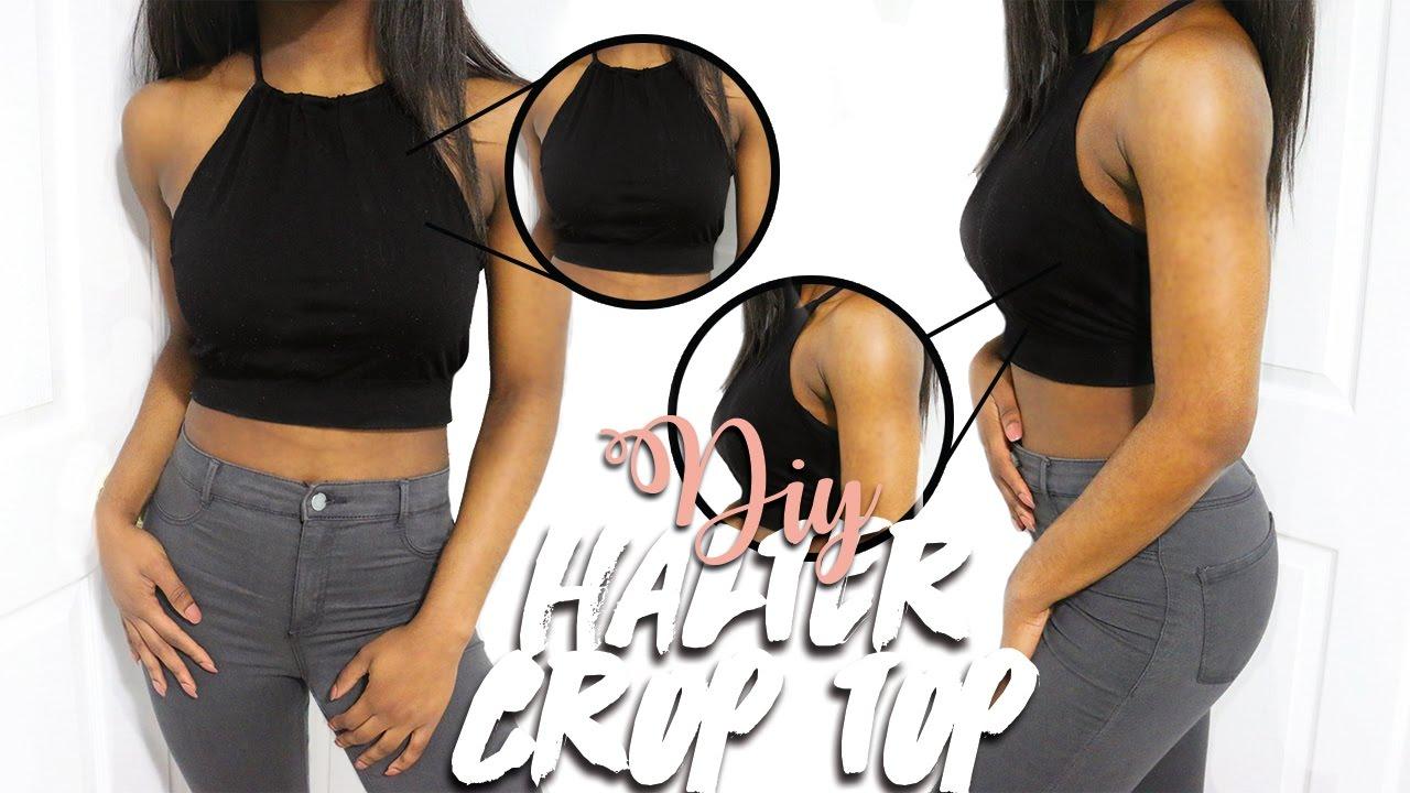 b9ffefaa0e8fc DIY HALTER CROP TOP (EASY   NO SEW) - YouTube