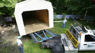 Portable Vinyl Dutch Barn Garage With Concrete Piers In Frederick Md