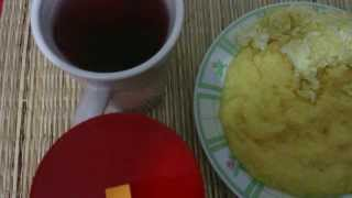 Yellow Hominy Grits, Eggs and Hibiscus Tea