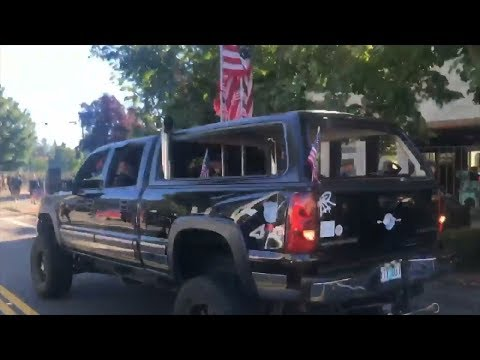Video shows pickup driver nearly hitting Vancouver Patriot Prayer rally counter-protesters