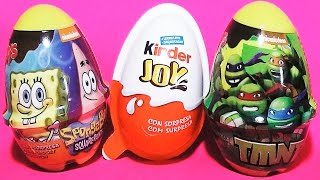 3 huevos sorpresa, Bob esponja, Tortugas ninja mutantes,  kinder joy en español castellano unboxing