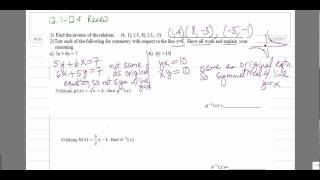 Find Inverse of functions or relations. Check for symmetry with y=x