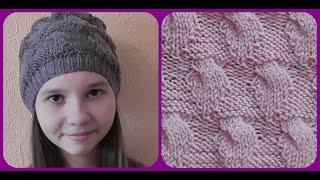 Вязание женской шапки спицами. Схема. Видео урок.