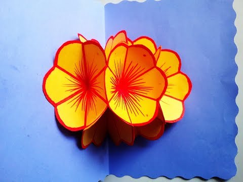 DIY How to make 3D Flower Popup card ,very easy paper craft ideas,Mother's day pop up greetingcard