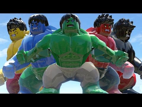 LEGO Black Hulk Vs Red Hulk Vs Hulk (Transformation) And Blue Hulk Vs Yellow Hulk