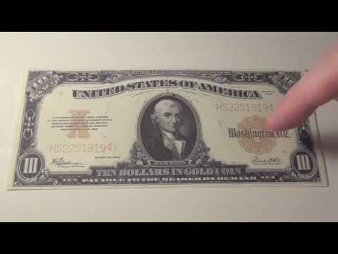 1922 $10 US Gold Certificate - YouTube