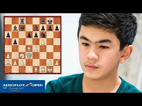 АЭРОФЛОТ ОПЕН 2020. ПЕРВЫЙ ТУР. Красивая миниатюра 15-летнего гроссмейстера из Узбекистана