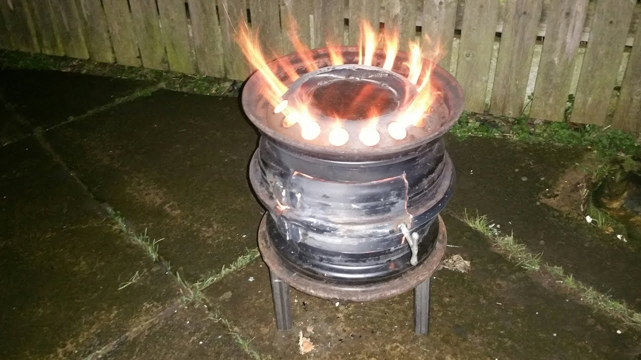 How To Make A Garden Wood Burner From Old Car Wheel Youtube