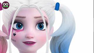 Download lagu Elsa frozen 2 transformation 🦹♀️| Elsa to Harley Quinn | Nikkotoons