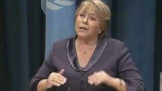 Former President of Chile Michele Bachelet discussing Social Protection Policies & Arab Spring