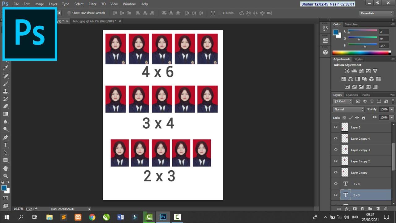 Cara Membuat Ukuran Pas Foto 4x6 3x4 Dan 2x3 Di Photoshop Youtube