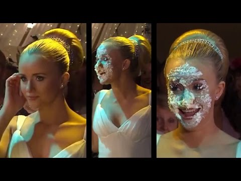 Katie Sammy Winward has her face shoved in her wedding cake  YouTube