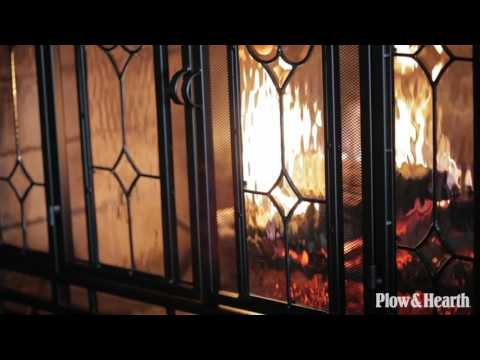 Two-Door Fireplace Screen with Glass Floral Panels SKU# 10285 - Plow & Hearth
