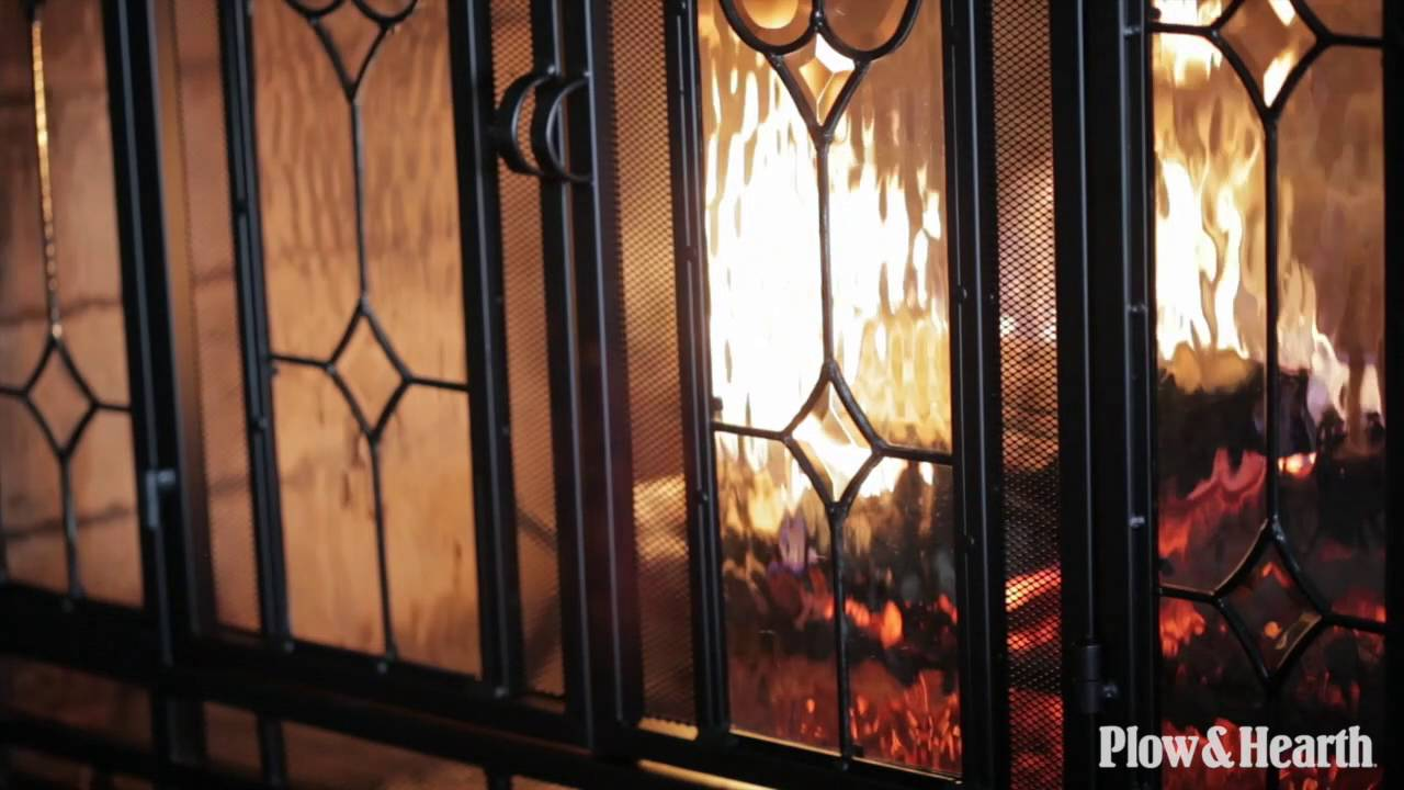 Two-Door Fireplace Screen with Glass Floral Panels SKU# 10285 ...