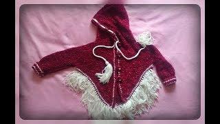 Пончо - кофта, вязание спицами