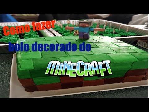 Decoração de bolo com pasta americana  - Minecraft