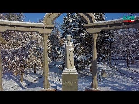 Сказочный Бишкек под снежным покрывалом - Вид с дрона