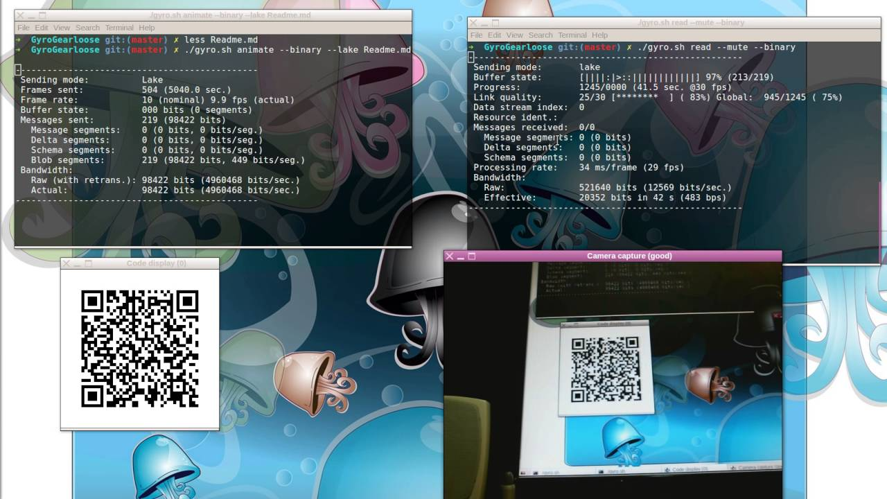 Transmitting data streams with QR codes