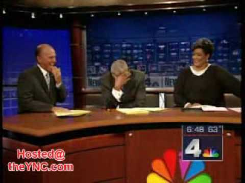 News reader cannot stop laughing at model falling over!