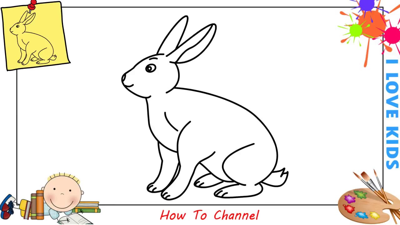 How to draw a bunny rabbit easy step by step for kids beginners children 5