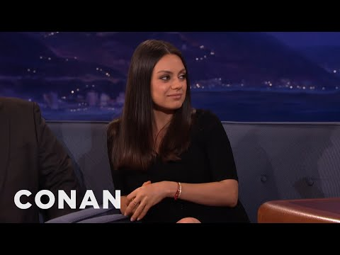 Mila Kunis & Ashton Kutcher's Wedding Rings Are From Etsy   CONAN on TBS