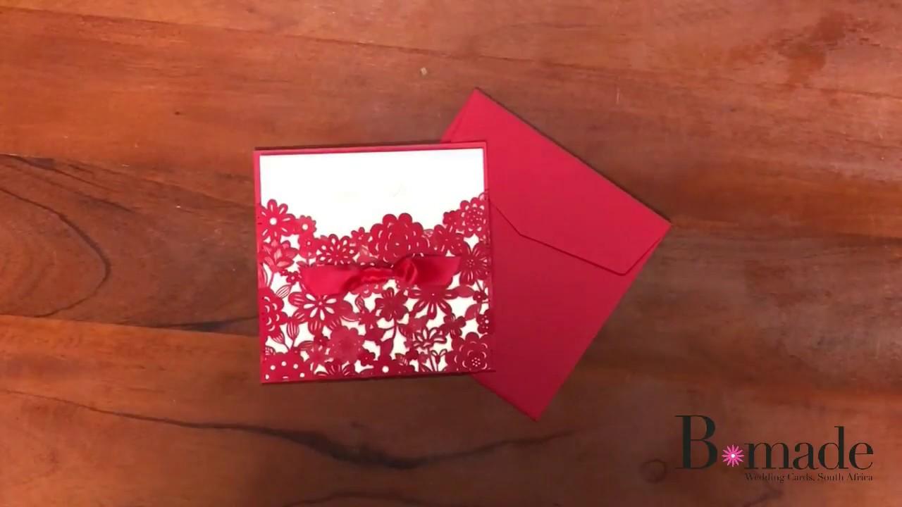 Red Pocket Square Wedding Invite - YouTube