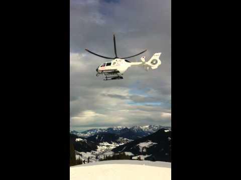 Helicoper rescue on ski slope in Austria