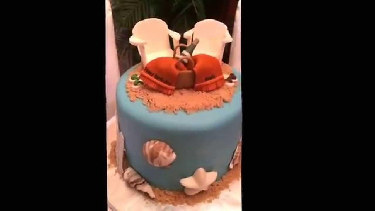 Joyce Gourmet Beach Theme Birthday Cake Lounge Chairs Wine Towels Flip Flops Shells Sand Fence