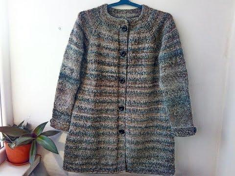 Пальто спицами реглан сверху для женщины