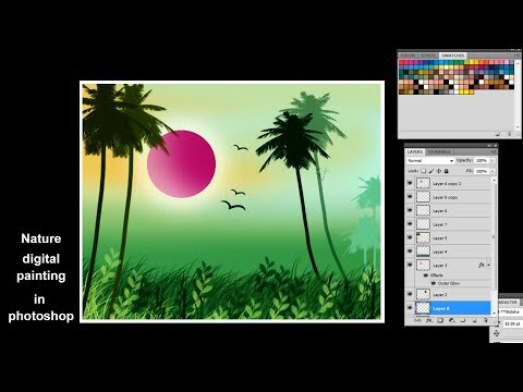 How to draw digital painting in photoshop || Nature Digital Painting || Tutorial on Photoshop