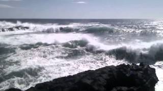 Getting hit full in the face by the North Atlantic Ocean.