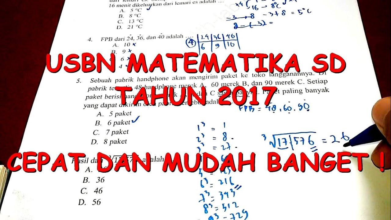 Sd Usbn Matematika Sd 2017 Pembahasan Lengkap Youtube