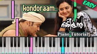 Kondoram Song - Odiyan | Lalettan | Malayalam Song | Piano Tutorial | Mobilepiano