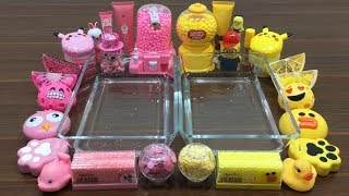 Mixing Random Things Into Clear Slime ! Pink Vs Yellow Special Series Part 9 Satisfying Slime Video