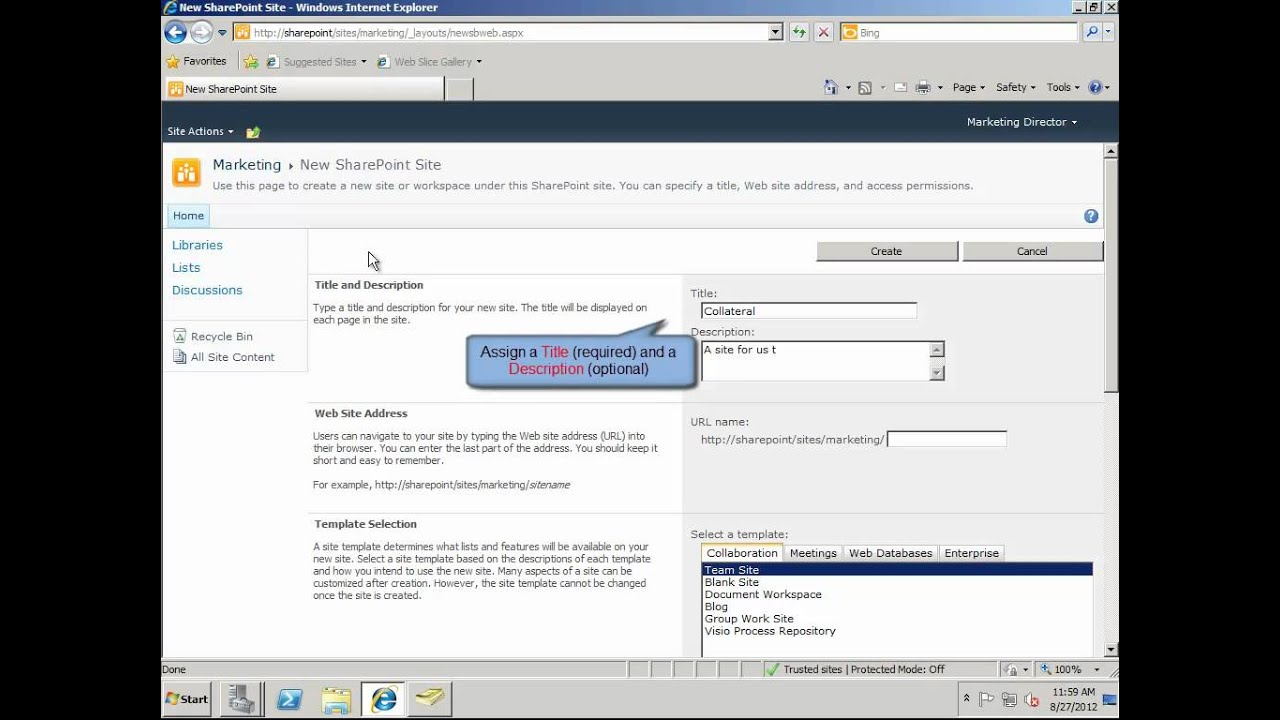 sharepoint 2010 team site template