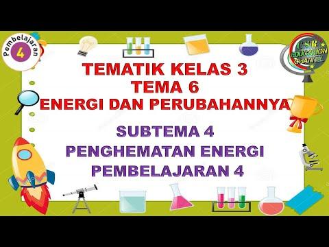 Kelas 3 Tematik : Tema 6 Subtema 4 Pembelajaran 4 (ENERGI DAN PERUBAHANNYA)