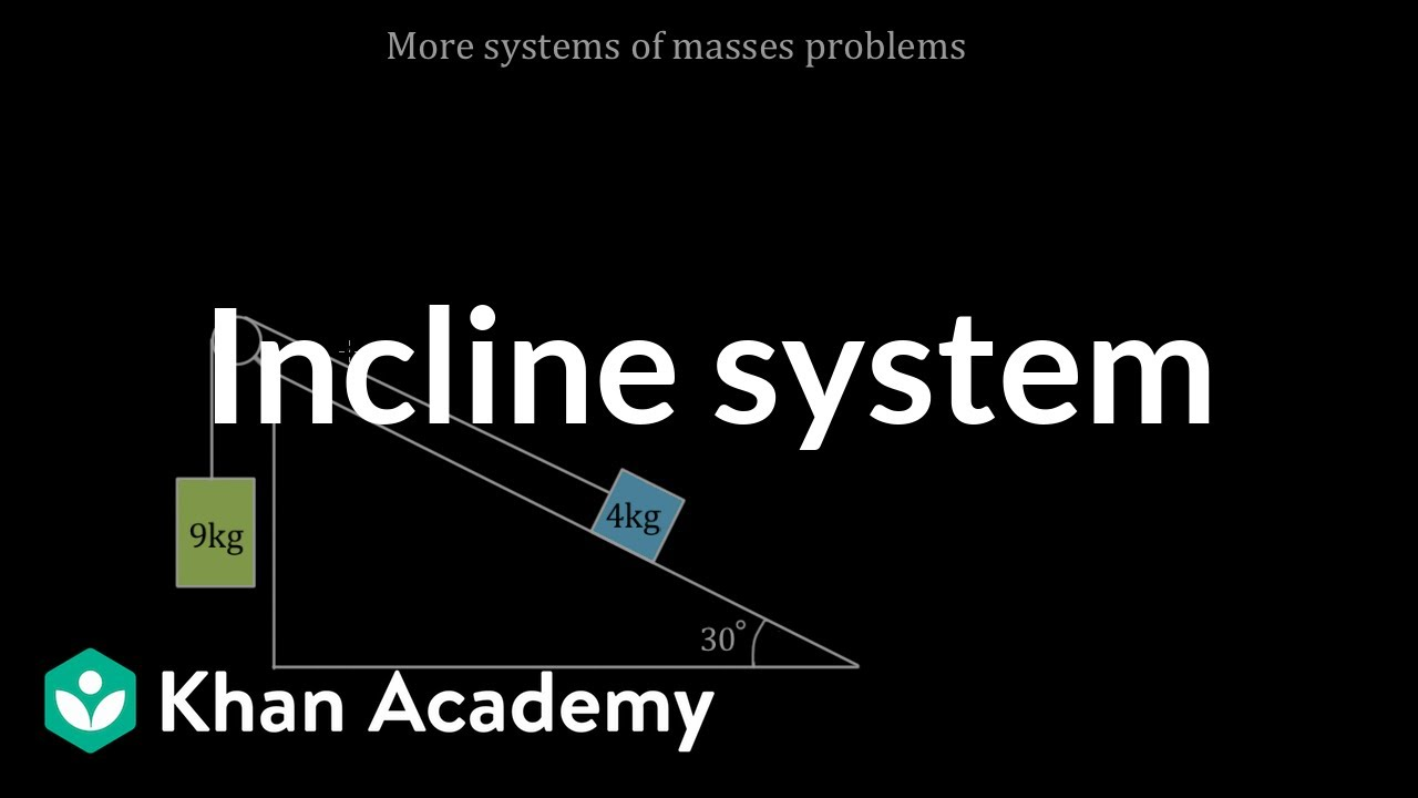 Masses on incline system problem (video)   Khan Academy