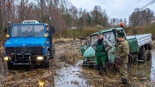 Jäger fahren UNIMOG 406 in einen Sumpf | Festgefahren | U1200 MB-Trac 1500