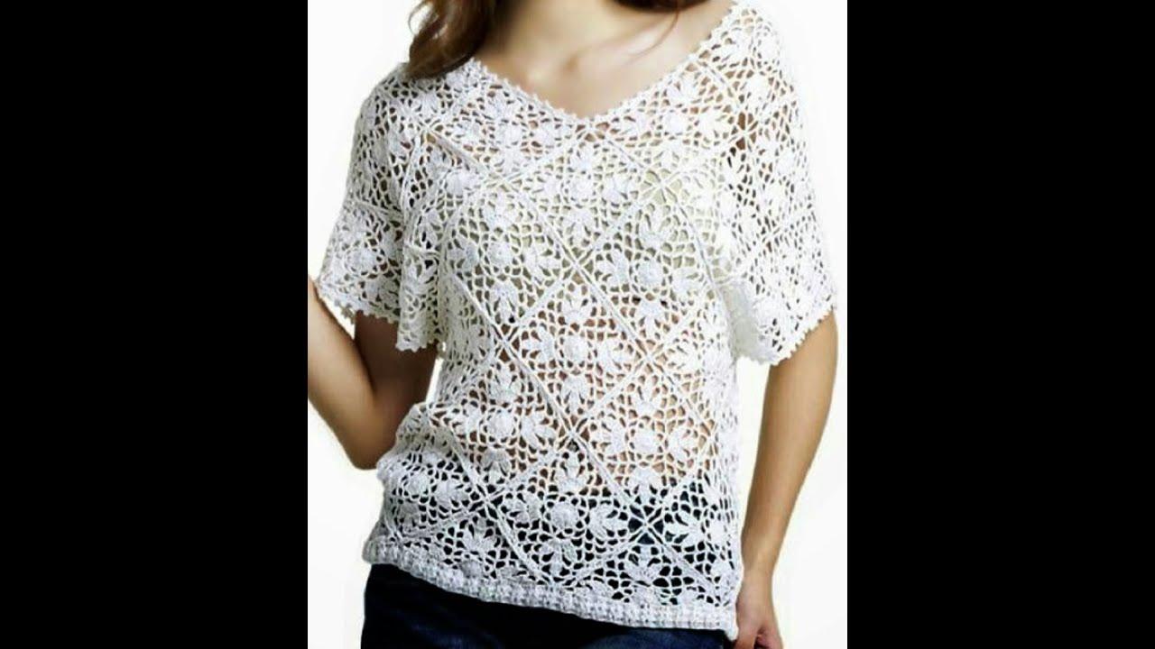 dddc58f65e Blusa Blanca Rombos Cuello V a Crochet - YouTube