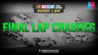 NASCAR Inside Line - Final Lap Crashes - Angry Nascar Video Game Trolling Reactions