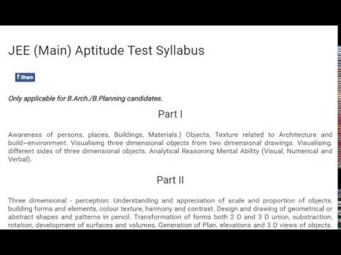 JEE Main 2017 2018 Aptitude Test Syllabus