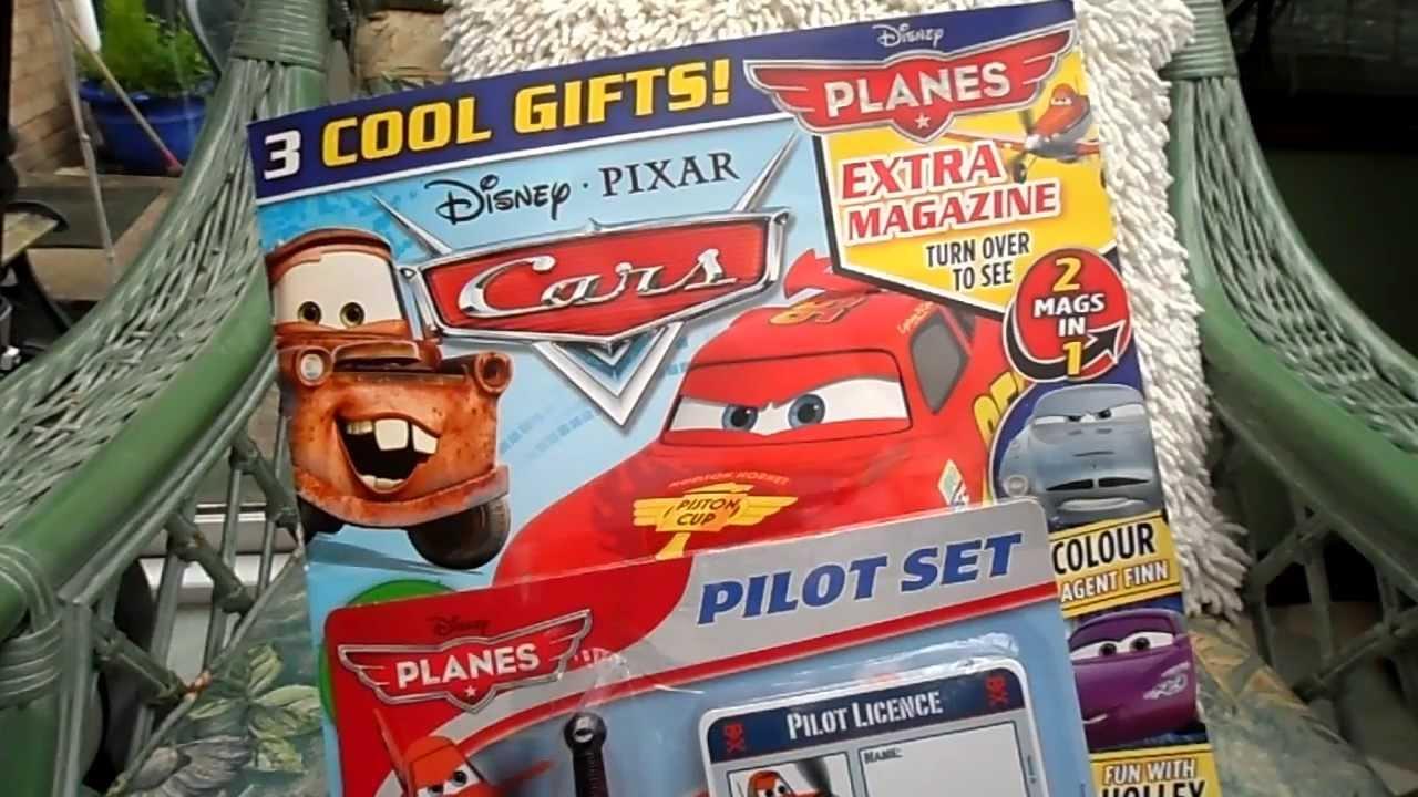 Latest Disney Cars Comic Magazine Free Airplane Pilot Set Unboxing