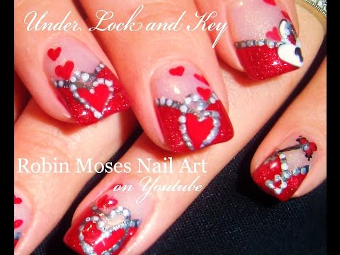 Valentine's Day Nails | Hearts under Lock & Key Nail Art Design