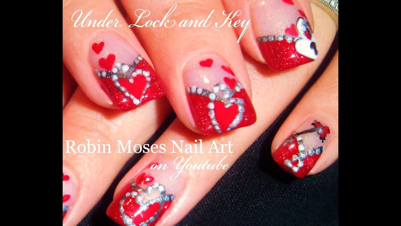 Valentines Day Nails Hearts Under Lock Key Nail Art Design