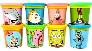 8 SpongeBob SquarePants Characters Toys with Play-Doh Can Heads Learn Colors