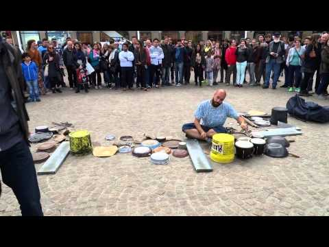 Drummer Dario Rossi at the Dam Square Amsterdam
