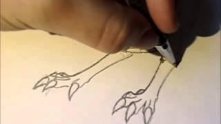 Drawing a chinese dragon Step 2: Damn feet